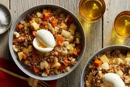 Roasted Fall Vegetable & Farro Salad with Soft-Boiled Eggs