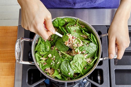 Cook the rice & add the spinach