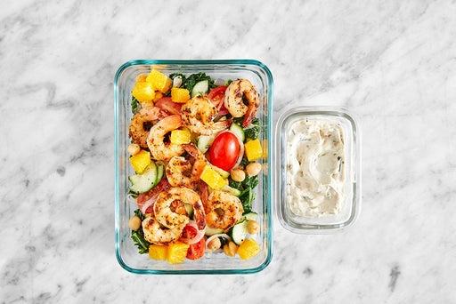 Assemble & Store the Shrimp & Sautéed Kale Salad