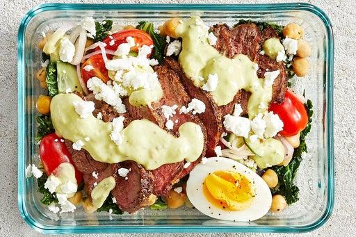 Finish & Serve the Smoky Steak & Kale