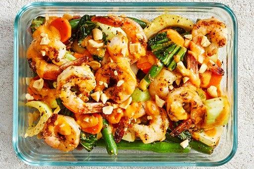 Finish & Serve the Sambal-Peanut Shrimp