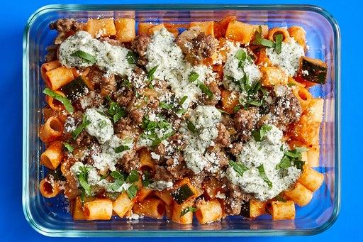 Finish & Serve the Sautéed Beef & Zucchini Pasta