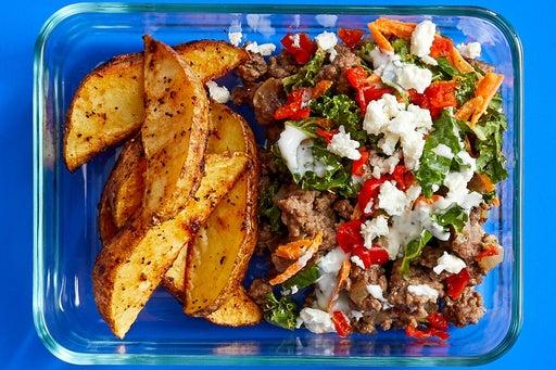 Finish & Serve the Mediterranean Beef Pitas