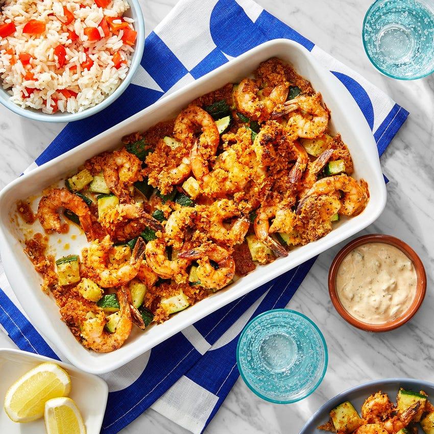 Cajun-Spiced Shrimp Bake with Remoulade & Pepper Rice