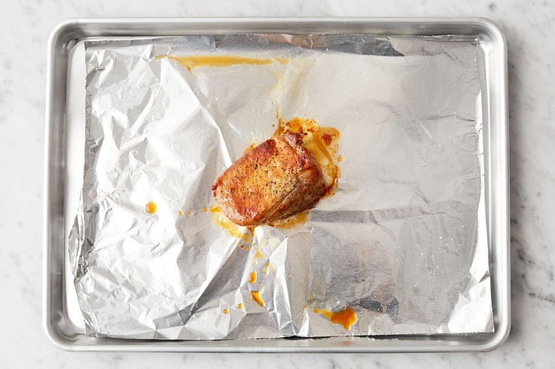 Sear & roast the pork: