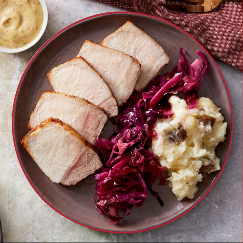 Roasted Pork & Cheesy Mashed Potato with Cabbage & Apple