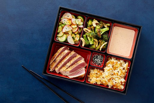 Togarashi Tuna Bento Box with Crispy Sushi Rice, Ponzu Broccoli & Sambal Mayo