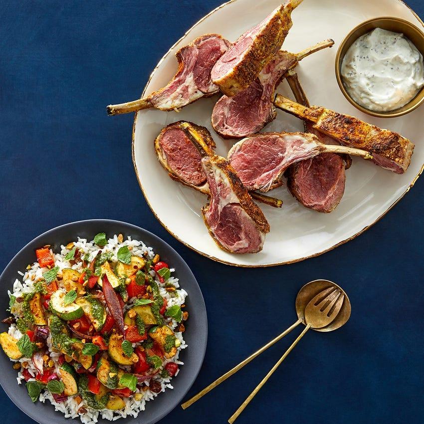 Shawarma-Spiced Lamb & Rice with Harissa-Roasted Vegetables & Tzatziki