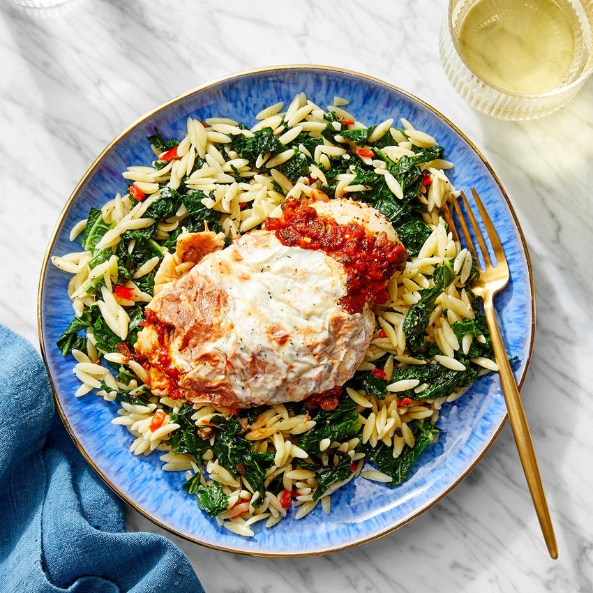 Cheesy Tomato Chicken with Orzo & Kale