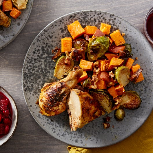 Roasted Chicken & Fall Vegetables with Cranberry & Ginger Compote