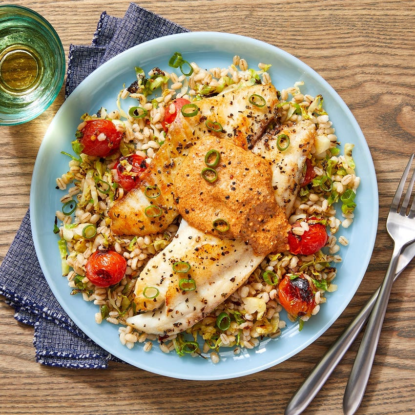Tilapia & Creamy Romesco Sauce with Barley, Tomatoes & Brussels Sprouts