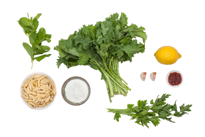 Broccoli Rabe & Cavatelli Pasta    with Harissa & Yogurt ingredients