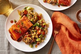 Orange & Soy-Glazed Salmon with Vegetable Fried Rice