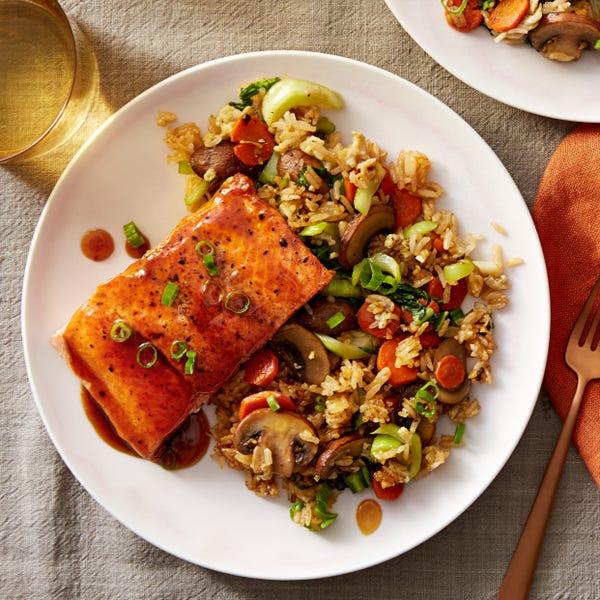 Orange & Soy-Glazed Salmon with Vegetable Fried Rice
