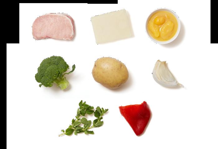 Pork Chops & Yellow Tomato Sauce with Roasted Potatoes & Broccoli