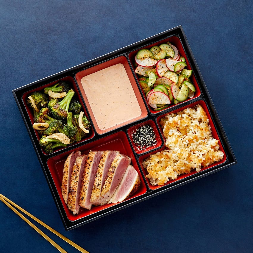 Togarashi Tuna Bento Box with Crispy Sushi Rice, Ponzu Broccoli & Sambal Mayo