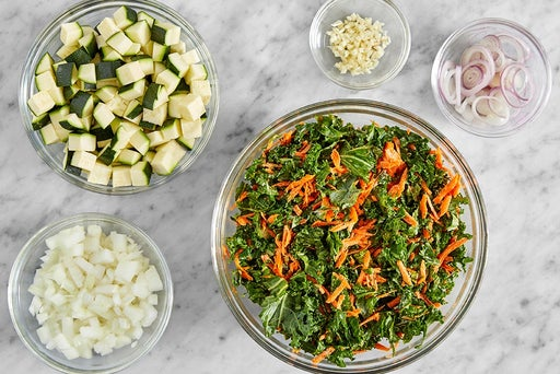 Prepare the remaining ingredients & make the kale slaw
