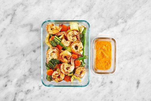 Assemble & Store the Sambal-Peanut Shrimp