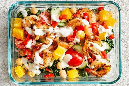 Finish & Serve the Shrimp & Sautéed Kale Salad