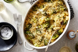 Cheesy Broccoli Baked Pasta with Thyme Breadcrumbs