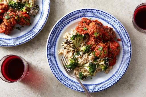 Meatballs & Tomato Sauce with Creamy Rice & Broccoli
