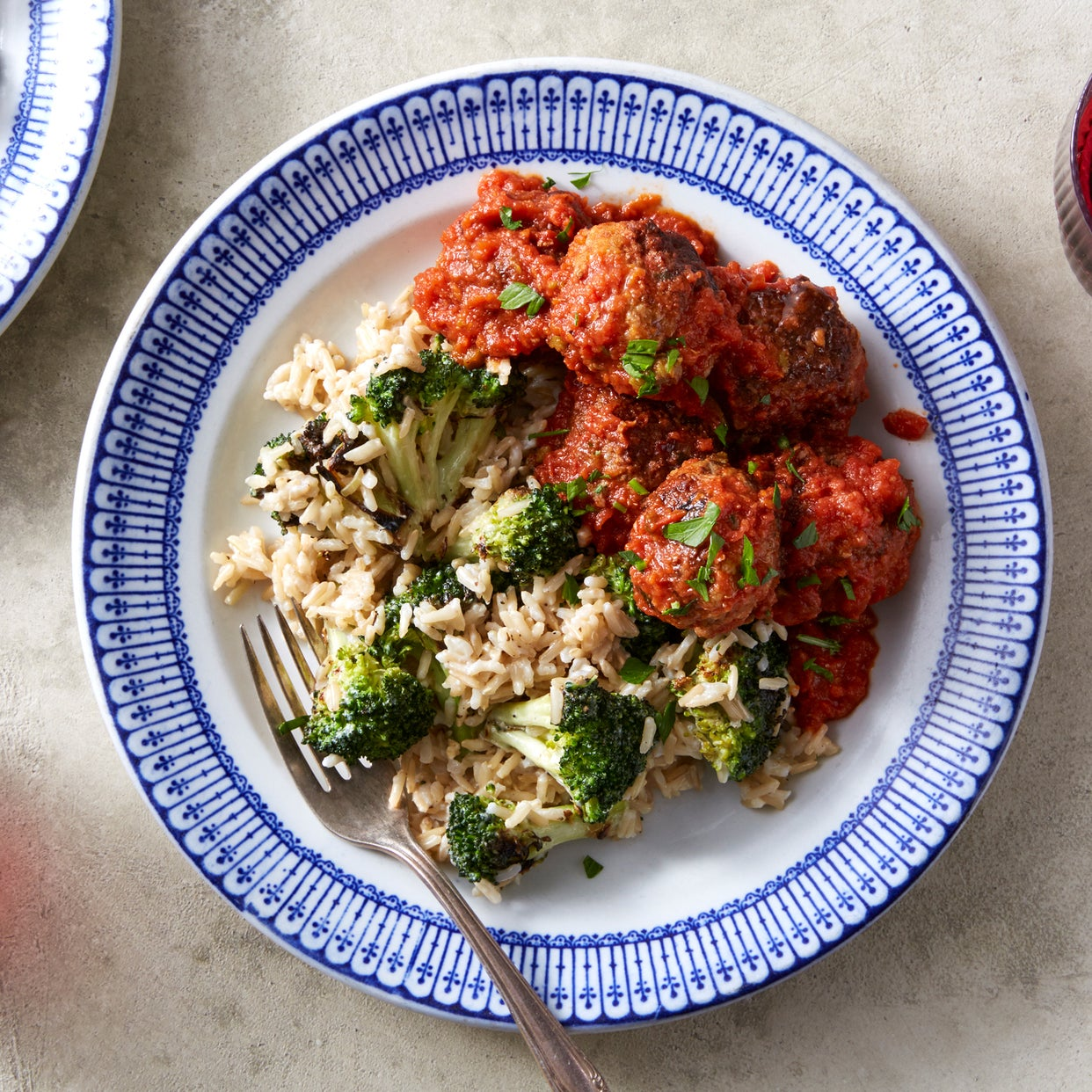 Meatballs & Tomato Sauce with Creamy Rice & Broccoli