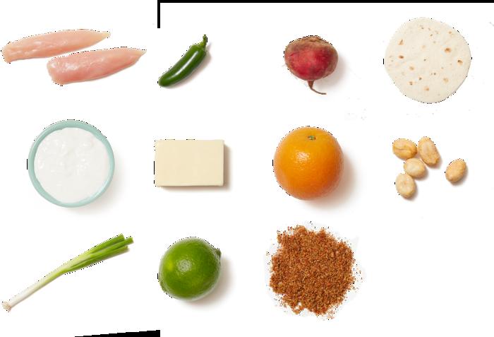 Spicy Chicken Quesadillas with Beet & Orange Salad