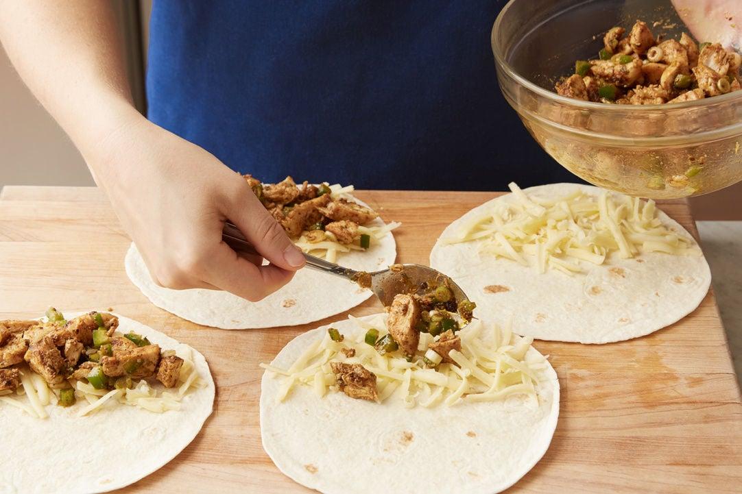 Make the filling & assemble the quesadillas: