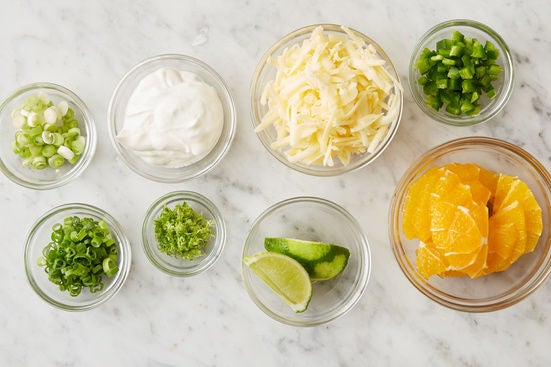 Prepare the remaining ingredients & make the lime crema: