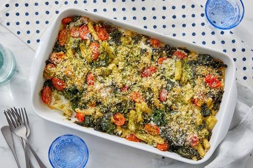 Cheesy Pesto Baked Cavatelli with Kale & Tomatoes