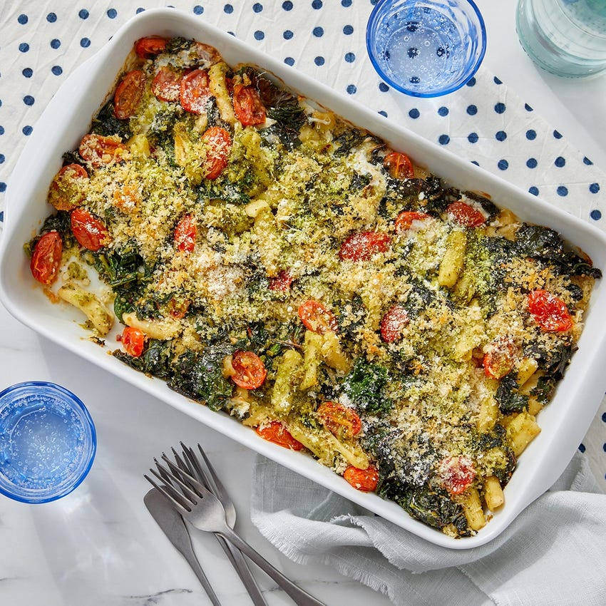 Cheesy Pesto Baked Cavatelli with Kale & Tomatoes
