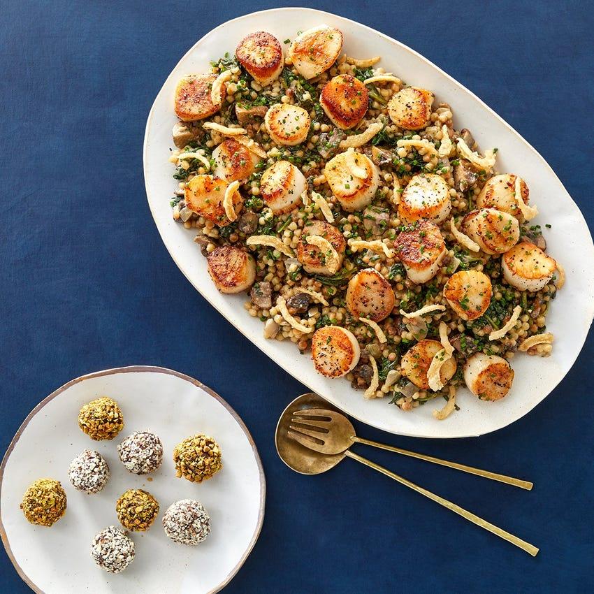 Seared Scallops & Mushroom Pasta with Mixed Nut & Chocolate Truffles