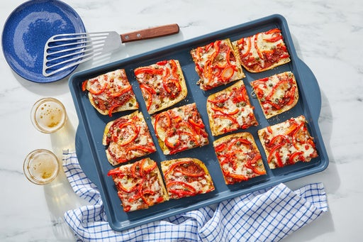 Fontina & Pepper Focaccia Pizza with Spicy Garlic Oil