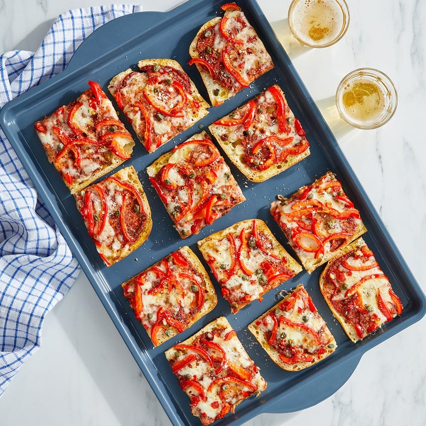 Fontina & Pepper Focaccia Pizza with Spicy Garlic Oil
