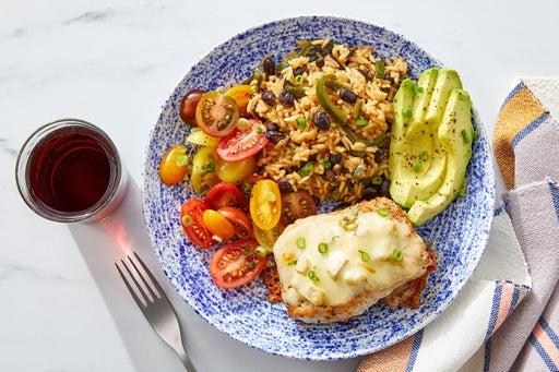 Monterey Jack & Dijon-Smothered Pork Chops with Avocado, Rice & Beans