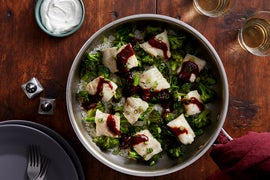 One-Pan Spicy Wild Alaskan Pollock with Broccoli & Jasmine Rice