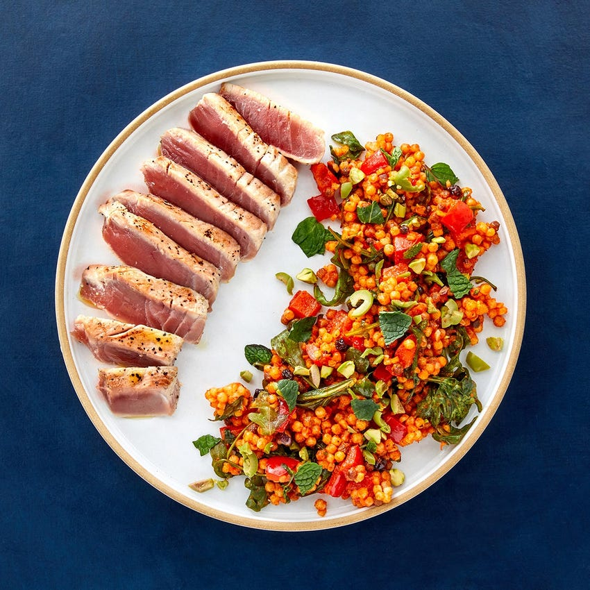 Seared Ahi Tuna with Fregola Sarda & Peperonata