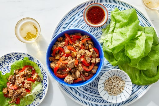 Sesame-Sambal Turkey Lettuce Cups with Mushrooms, Pepper & Sunflower Seeds