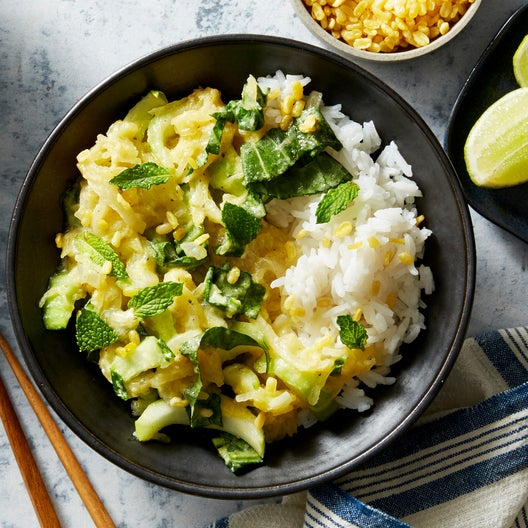 Roasted Squash Curry with Crispy Mung Beans & Jasmine Rice