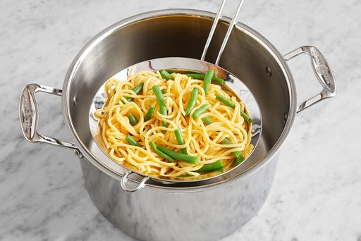 Cook the green beans & noodles