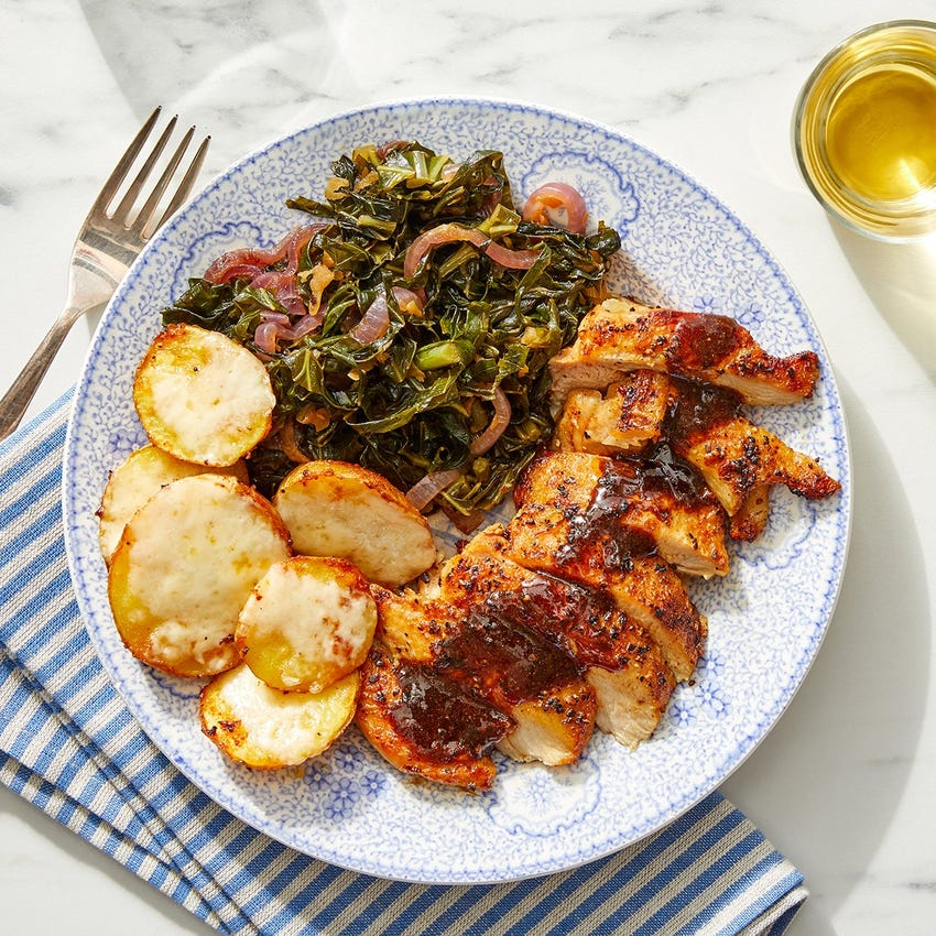 Spicy Maple Chicken Thighs with Cheesy Potatoes & Collard Greens