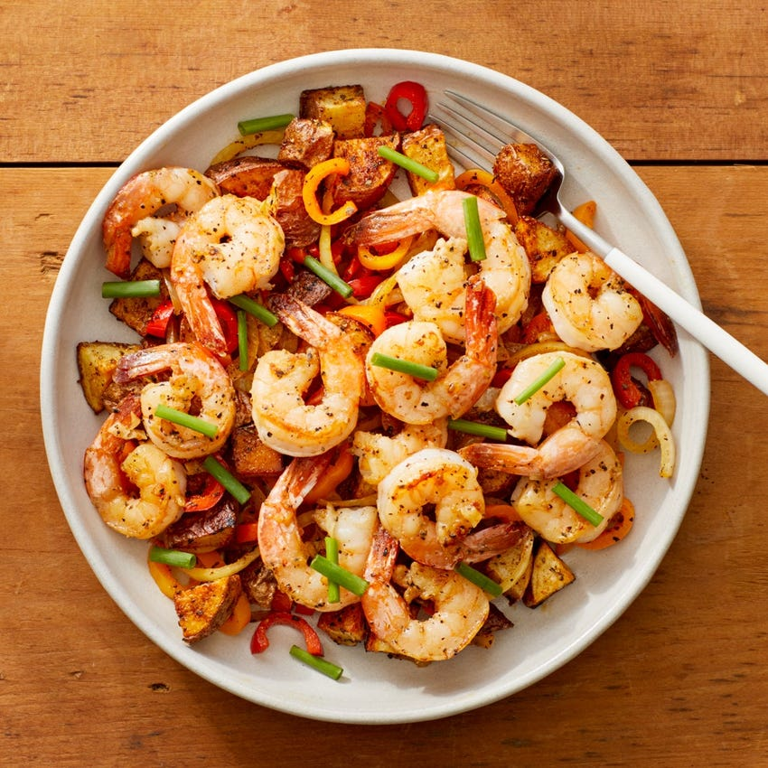 Garlic Shrimp & Spanish-Style Potatoes with Onion & Bell Pepper