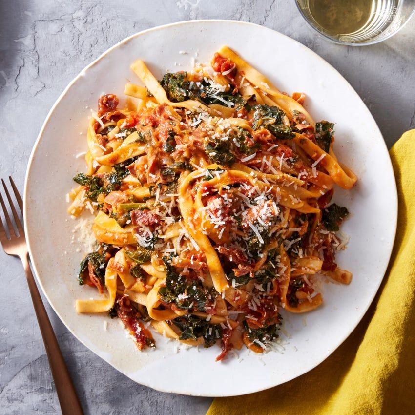 Fresh Fettuccine & Prosciutto with Kale & Tomato Sauce