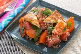 Tomato, Watermelon & Farro Salad with Seared Halloumi