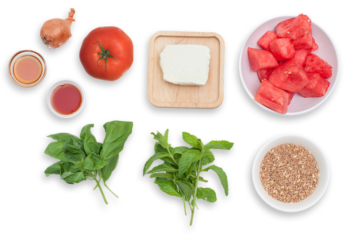 Tomato, Watermelon & Farro Salad with Seared Halloumi ingredients
