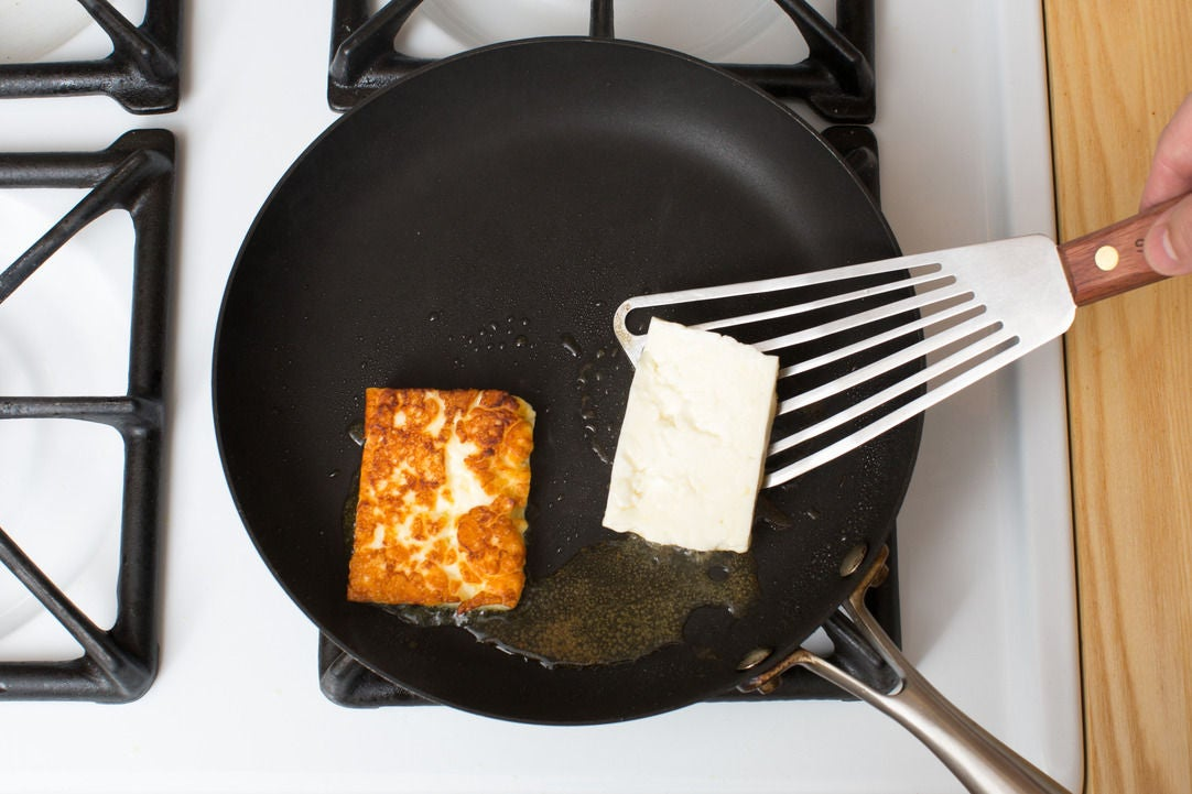 Sear the halloumi: