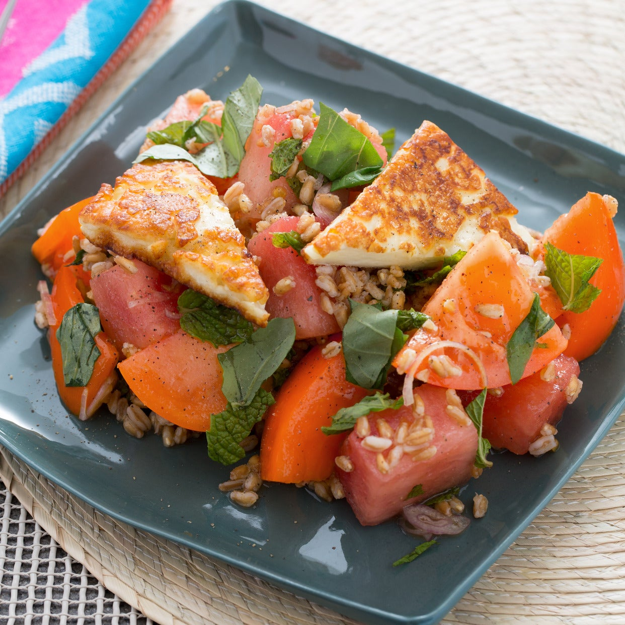 Tomato, Watermelon & Farro Salad with Seared Halloumi