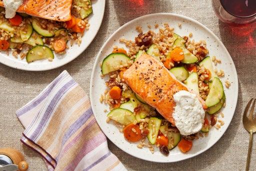 Discontinued Seared Salmon over Farro with Dates, Zucchini & Garlic Labneh