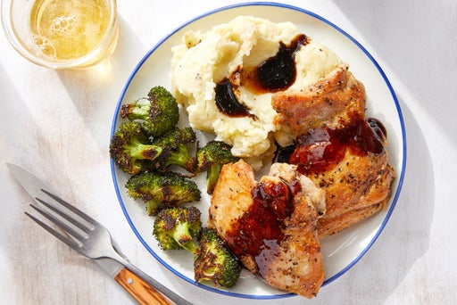 Savory Glazed Chicken Thighs with Mashed Potatoes & Broccoli