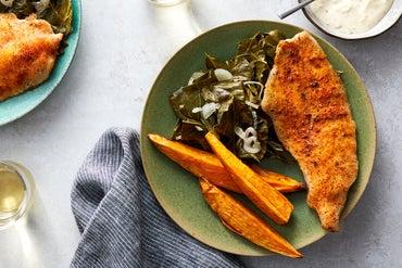 Sheet Pan Cajun Catfish with Collard Greens & Sweet Potato Wedges